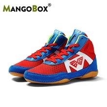 Новое поступление, борцовские ботинки для больших мальчиков, противоскользящие детские тренировочные сапоги для боя, сетчатые Военные кроссовки для мальчиков, профессиональная боксерская обувь