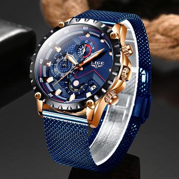 2020 nowy LIGE niebieski swobodna siateczka pas mody zegarki kwarcowe męskie zegarki Top marka luksusowe wodoodporny zegar Relogio Masculino tanie i dobre opinie 25 5cm Sport QUARTZ 3Bar Hook buckle STAINLESS STEEL 12mm Hardlex Kwarcowe Zegarki Na Rękę Papier 44mm LIGE 9821 22mm