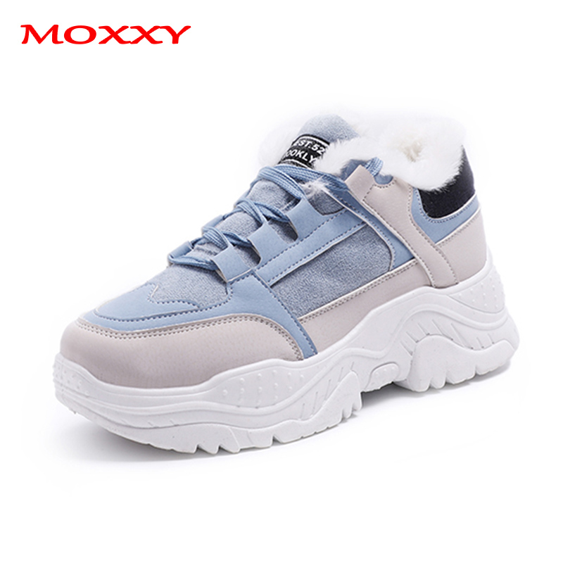 Retro Women's Winter Sneakers Warm Fur Chunky Sneakers Platform Gray Beige Blue Plush Casual Shoes Woman Ladies Vintage Sneakers