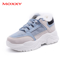 Купить с кэшбэком Retro Women's Winter Sneakers Warm Fur Chunky Sneakers Platform Gray Beige Blue Plush Casual Shoes Woman Ladies Vintage Sneakers