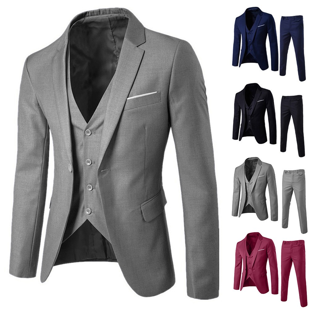 NEW Fashion Formal Set Men's Slim 3-Piece Suit Blazer Business Wedding Party Jacket Vest & Pants Plus Size S-3XL Freeship костюм
