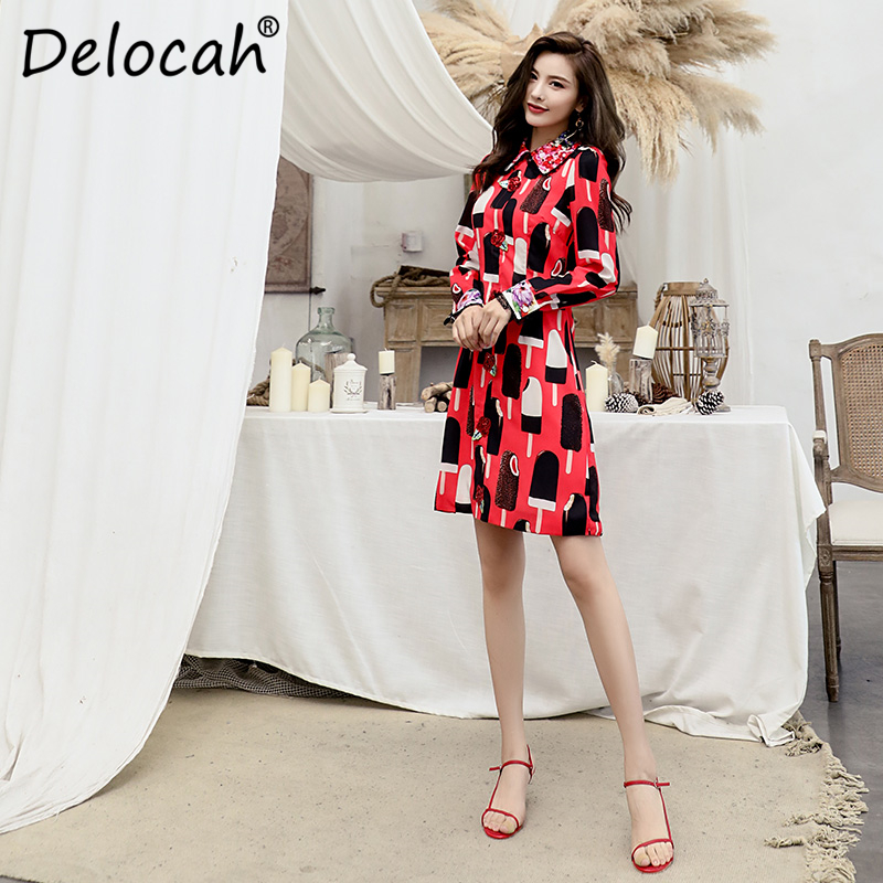 Delocah Women Autumn Dress Runway Fashion Long Sleeve Sequined Lace Splice Printed Elegant Casual Ladies A Line Midi Dresses in Dresses from Women 39 s Clothing