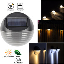 6 LED Solar Powered luz exterior impermeable IP65 perlas forma redonda jardín patio pared lámpara blanco cálido/blanco valla luces(China)