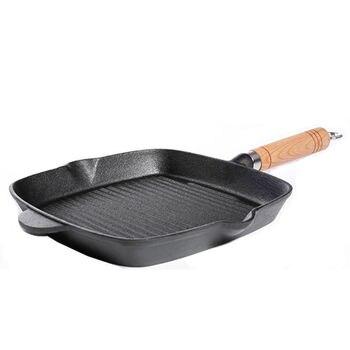 Sartén De carne De hierro fundido a rayas sartén De filete frito...