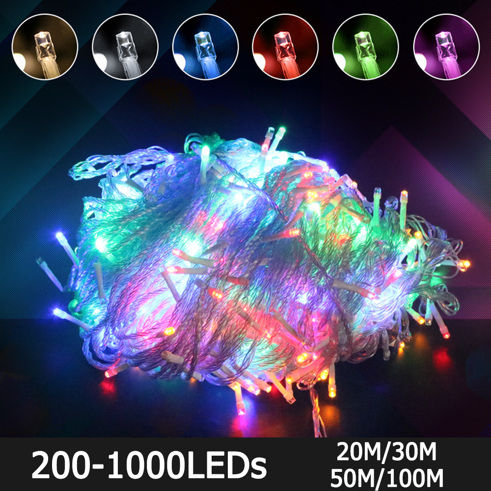 20M 30M 50M 100M Christmas LED String Light 220V EU/AU/UK Plug Connectable With Tail Plug 200/300/500/1000 LEDS Waterproof D35