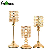 Candle-Lantern Centerpieces Table Tealight Wedding-Decoration Crystal Gold Home Parties
