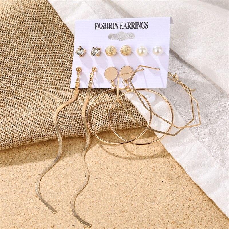 Fashion Women's Earrings Set Pearl Crystal Stud Earrings For Women 2020 Boho Geometric Round Flower Tassel Earrings Punk Jewelry