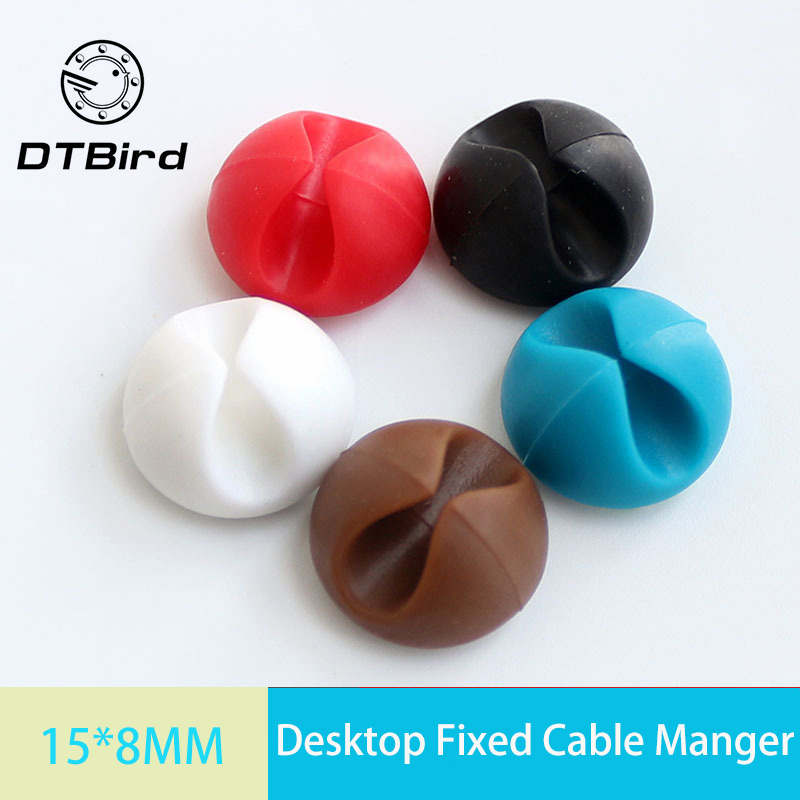6PCS Desktop Fixed Cable Manager Cable Winder Clips Cable Holder Wire Management Cord Line Fixed Clamp For Car USB Charger