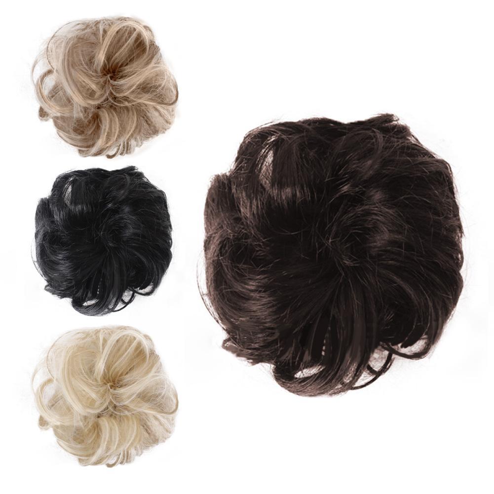 Women Hair Bun Extension Wavy Curly Messy