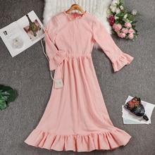 2019 New Autumn  cotton Pink  Round Neck Long Sleeve  Loose Big Size Dress Women Fashion  Elegant trumpet sleeves  female  Dress