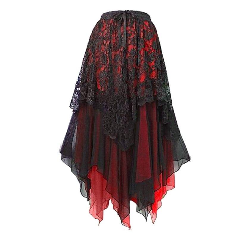GAOKE New Long Maxi Steampunk Elastic Skirts Women Plus Size Tulle Skirt Ruffled Mesh Lace Midi Gothic Corset Pleated Skirts