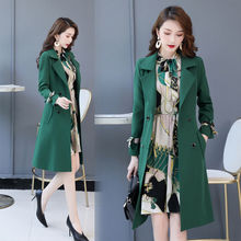 Spring Autumn Trench Coat Slim Trench Coat Women Dress Women Windbreakers Plus Size Two Pieces Women Sets Trench Coats Dress Set cheap GPFDRL Full Broadcloth Office Lady Polyester Button Pockets Spliced Print Long Ages 18-35 Years Old 1A1449 V-Neck Single Breasted