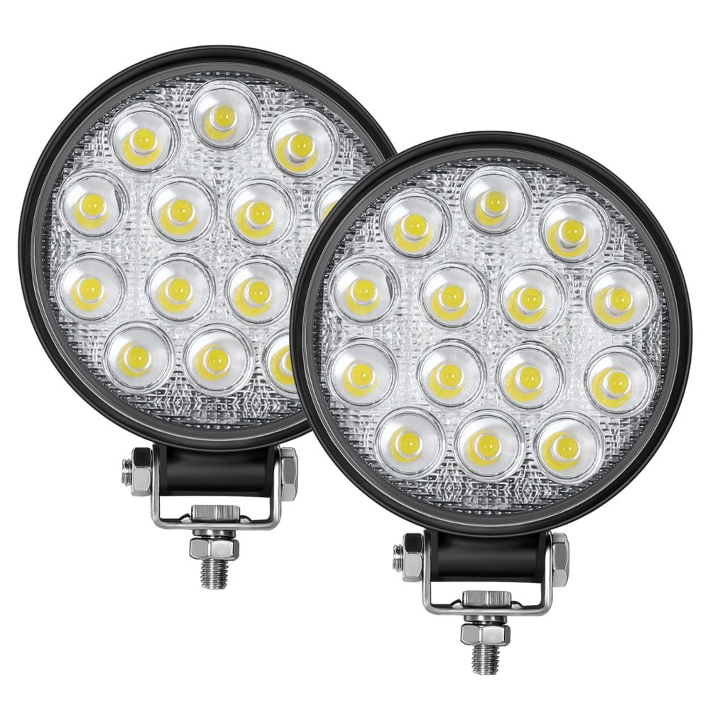 Led Round Light Bar 2PCS 4.5in 140W 14000LM Flood Light Pod Off Road Fog Driving Roof Bar Bumper for Jeep SUV Truck Hunters