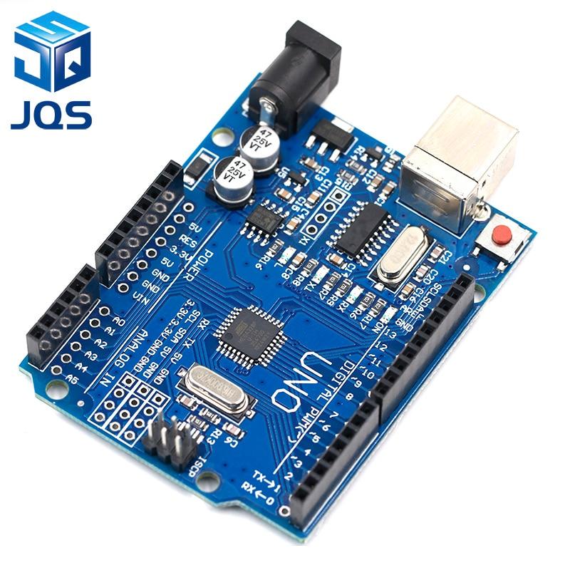 Tüketici Elektroniği'ten Yedek Parçalar ve Aksesuarlar'de Yüksek kaliteli bir set UNO R3 (CH340G) MEGA328P Arduino UNO için R3 ATMEGA328P AU geliştirme kurulu