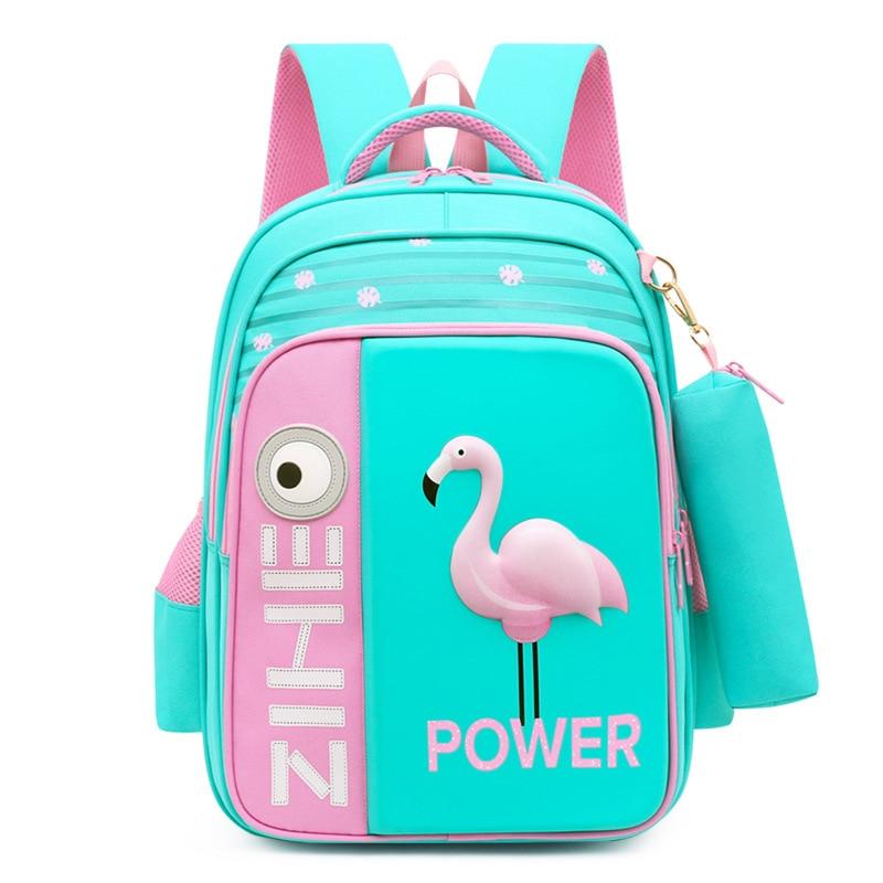 2020 New 3D Flamingo School Bags For Girls Boys Cartoon Shark Backpack Children Orthopedic Backpacks Mochila Escolar Grade 3 5
