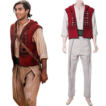 2020 Movie Aladdin Costume Aladdin Cosplay Costume Prince Mena Massoud Adult Outfit Full Suit Halloween Carnival Costumes image