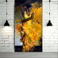 Handmade Impression Portrait Sexy Spanish Flamenco Dancer in Yellow Dress Oil Painting on Canvas Wall Artwork Gift Home Decor