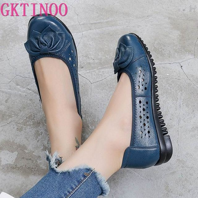 GKTINOO Summer Genuine Leather Shoes Women Butterfly-knot Loafers Women Flats Ballet Autumn Casual Flat Shoes Woman Moccasins