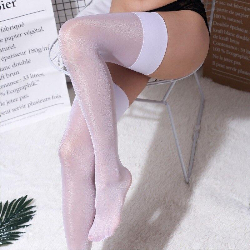 12D женские прозрачные длинные чулки выше колена, сексуальные широкие блестящие шелковые чулки до бедра 0919A