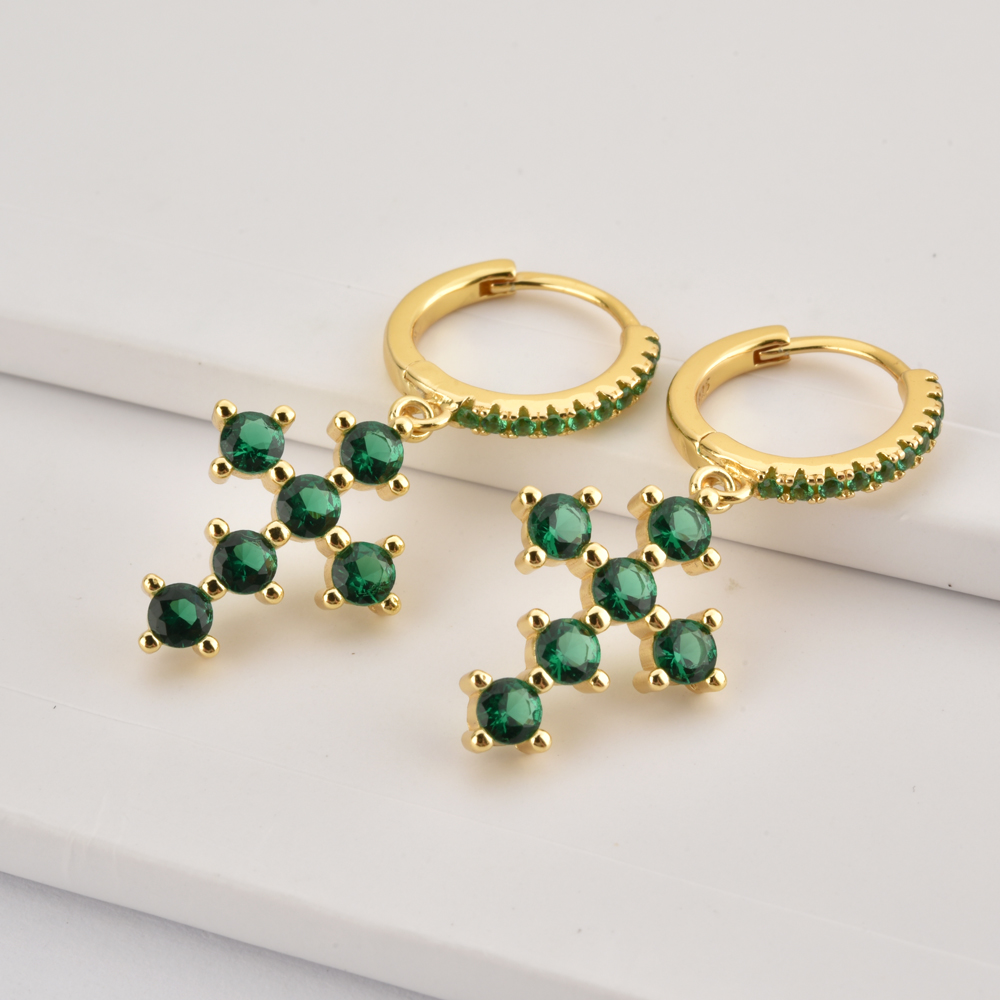 ANDYWEN 100% 925 Sterling Silver Rainbow Cross Dangle Charm Drop Earring Piercing Zircon Ohrringe Jewelry Rock Punk Pendiente