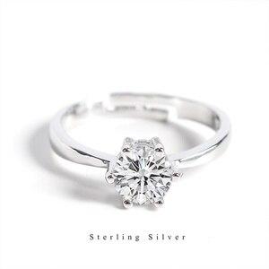Image 1 - Zobei Kleine Lab Diamond Opening Ring Echt 925 Sterling Zilveren Engagement Ring Crystal Solitaire Trouwringen Voor Vrouwen