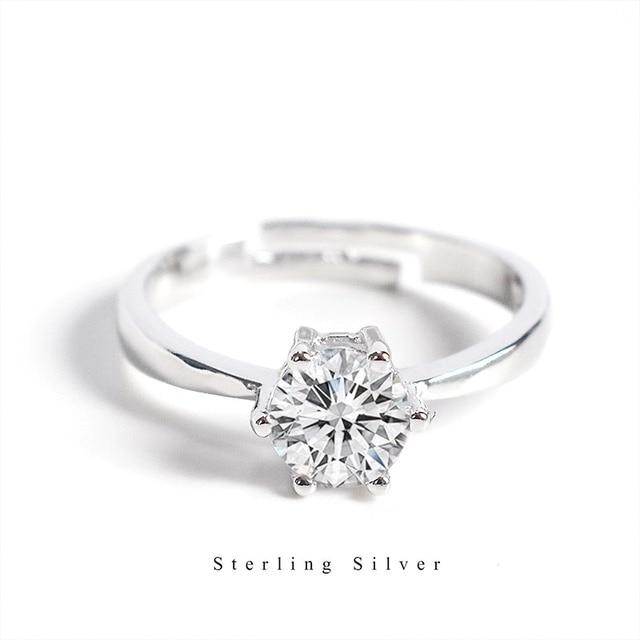 Zobei Kleine Lab Diamond Opening Ring Echt 925 Sterling Zilveren Engagement Ring Crystal Solitaire Trouwringen Voor Vrouwen