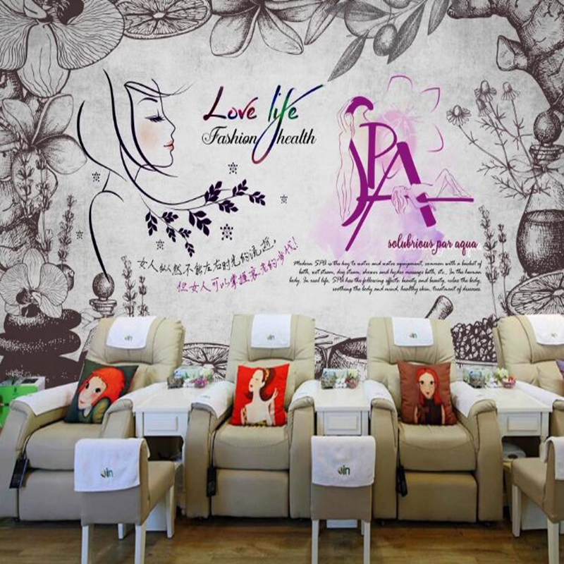 Custom Papel De Parede 3d Beauty Health Mural For Health Club Spa Living Room Background Decoration Waterproof Wallpaper Wallpapers Aliexpress
