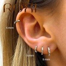 ROXI 925 Sterling Silver Small Hoop Earring Simple Round Circle Zircon Crystal Women's Earrings 2020 Geometric Lightning Jewelry