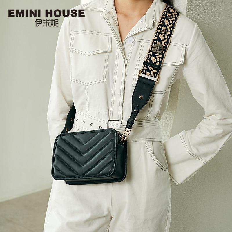 EMINI CASA Totem Cinta Larga Ombro Crossbody Sacos para As Mulheres Couro Genuíno Saco de Bolsas De Luxo Mulheres Sacos De Designer