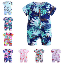 Летние детские комбинезоны с коротким рукавом и цветочным принтом для мальчиков и девочек, детские хлопковые комбинезоны, Одежда для новор...