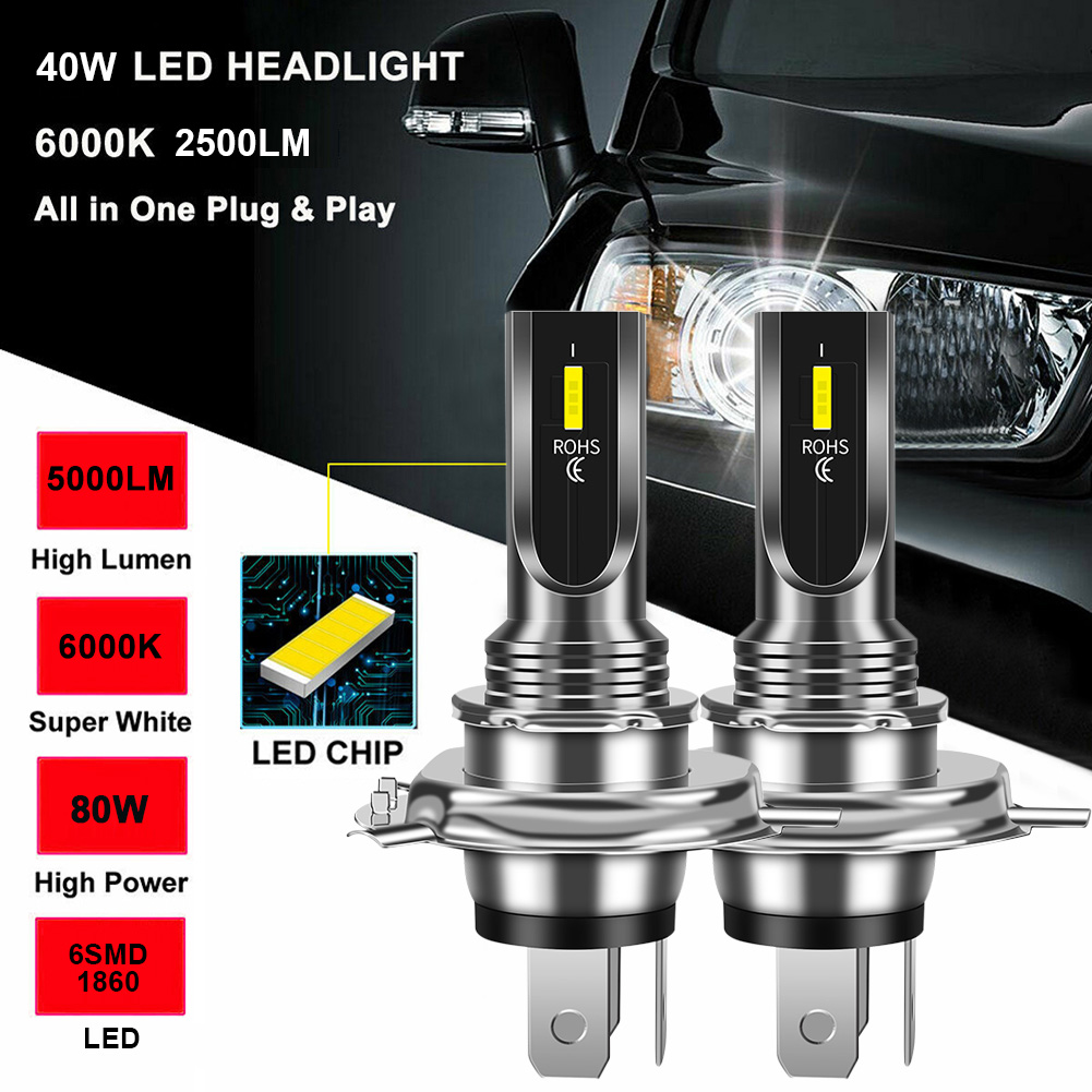 1Pair H4 LED Headlight Bulb 80W 1860 CSP 5000LM/Set Super Bright 6000K White Replacement Fog Lights DRL Auto Accessories