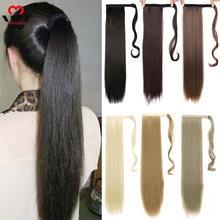 Прямые накладные волосы на заколках manwei конском хвосте 24