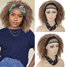 Curly Headband Wig for Black Women Kinky Curly  Front Wigs Synthetic Afro Curly Hair Machine Made Headband Wig