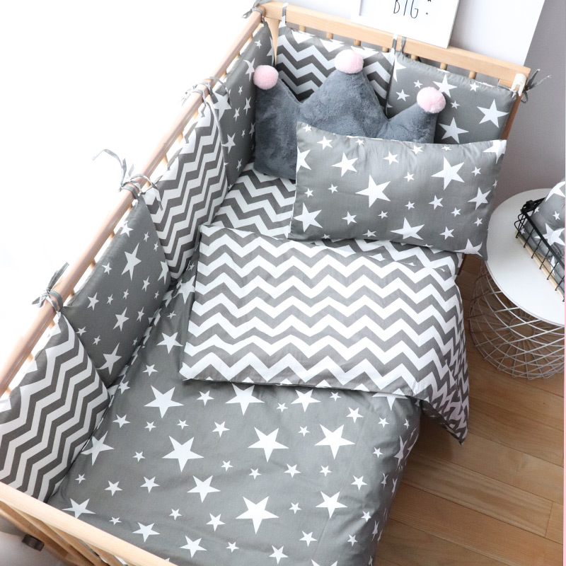 Baby Bedding Set For Girl Boy Cotton Soft Crib Bed Linen With Bumper For Newborns Cradle Kit Baby Items For Cot Nursery Decor