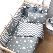 цена на Baby Bedding Set For Girl Boy Cotton Soft Crib Bed Linen With Bumper For Newborns Cradle Kit Baby Items For Cot Nursery Decor