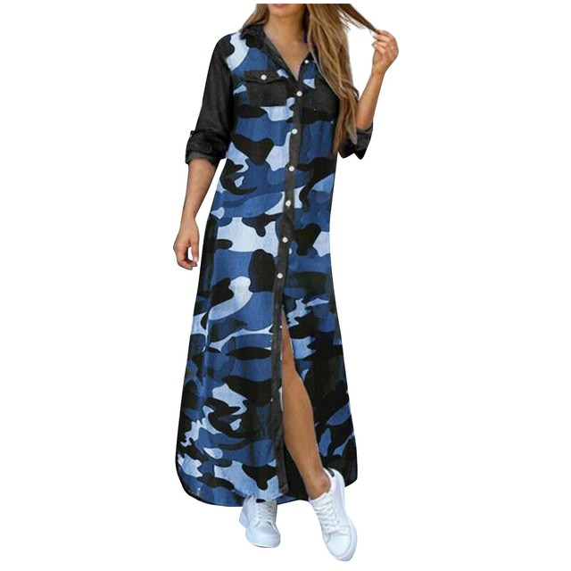 Fashion Korean Plus Size Denim Dress For Women Summer Dress 2021 Lapel Split Sexy Long Maxi Jeans Dress Vestidos De Mujer #SRN 3