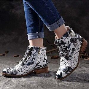 Image 2 - 2019 neue stiefeletten frauen Mode Schöne Blume muster boot weibliche Gummi stiefel für frauen Tragen beständig Zipper schuhe