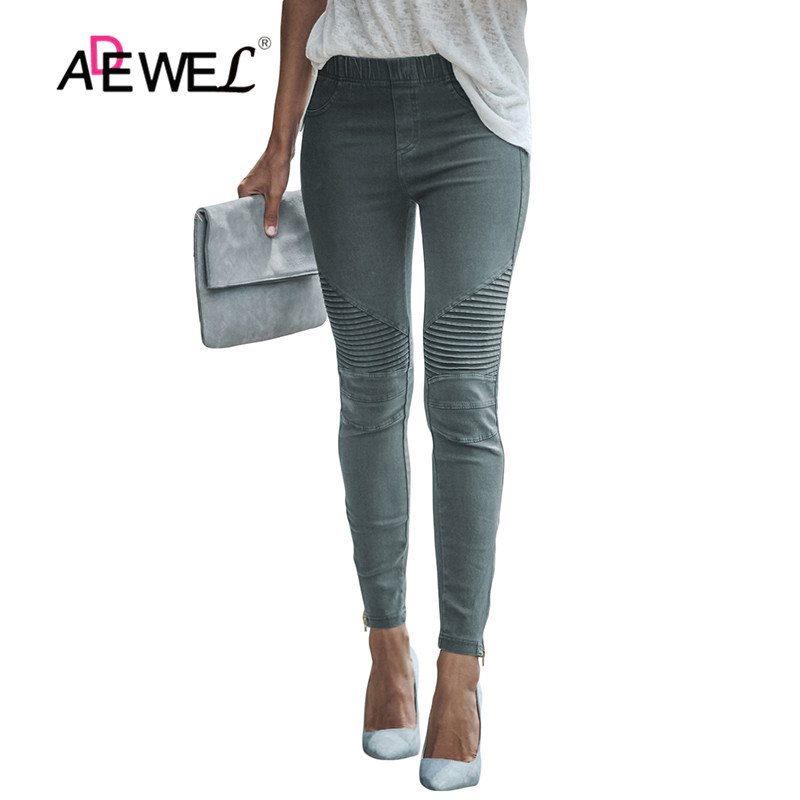 ADEWEL Woman Jeans Slim Skinny Pencil Jeans Zipper Woman Mid Waist Denim Sexy Pants Soft Tights Leggings Woman Jeans