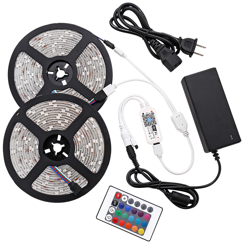 10m WIFI LED bande lumineuse RGB étanche SMD 5050 RGB ampoules LED bande DC 12V + WIFI ou synchronisation RF ou IR télécommande + adaptateur ue