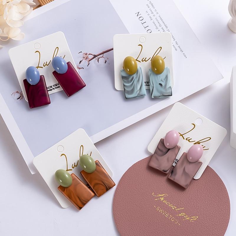 New Korean Large Acrylic Drop Earrings Fashion Geometric Graffiti Irregular Acetate Cute Maiden Earrings for Women 2020 jewelry