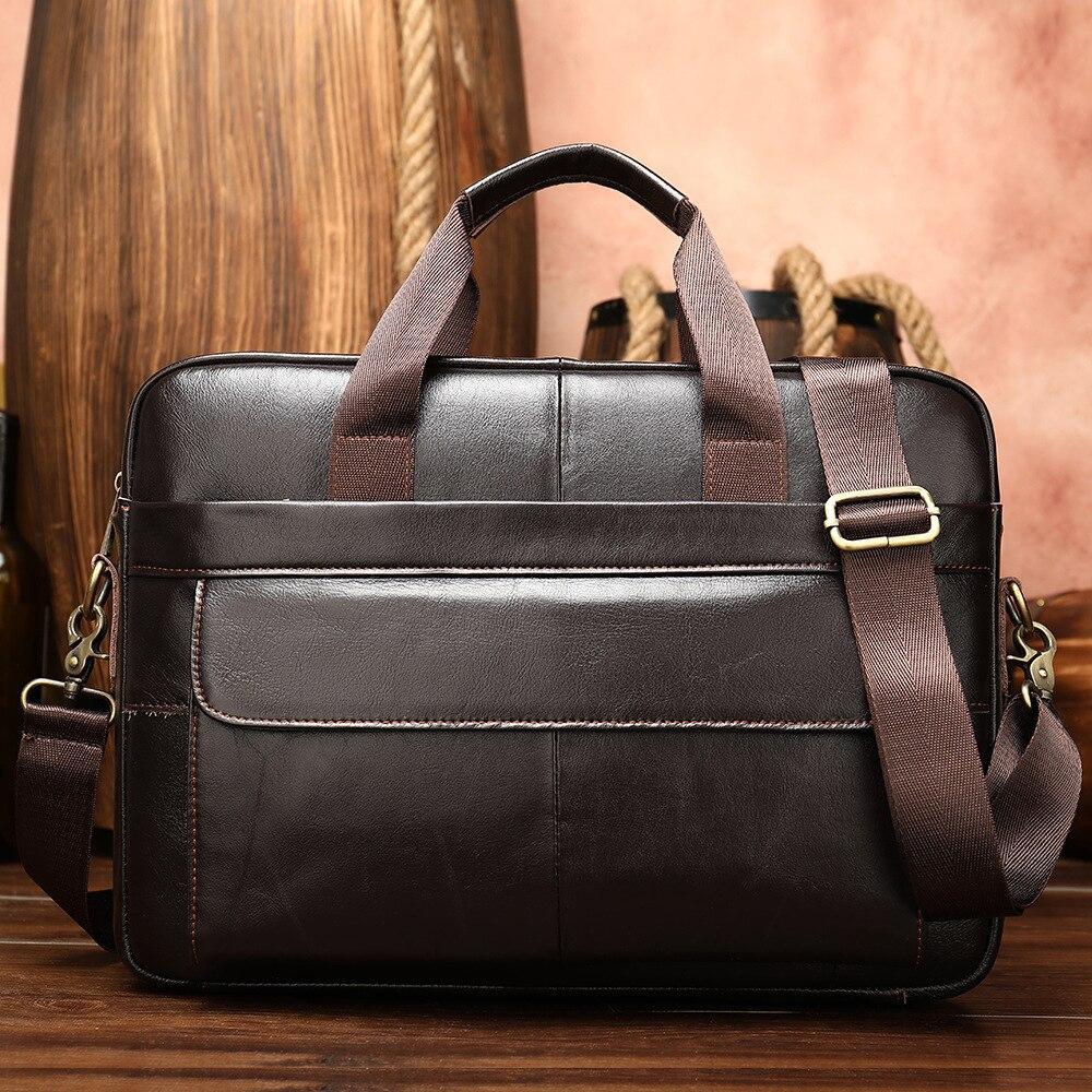 Westal Men's Briefcase Bag Men's Genuine Leather Laptop Bag Business Tote For Document Office Portable Laptop Shoulder Bag Hot