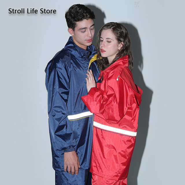 Motorcycle Raincoat Women Men Rain Jacket Electric Car Double Layer Split Reflective -Proof Pants Set Impermeable Birthday Gift 1