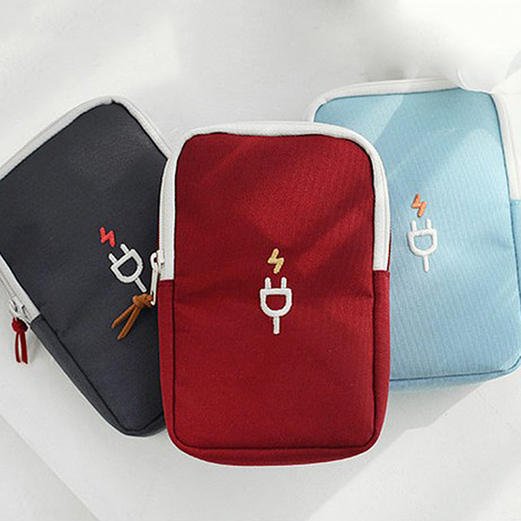 Travel Phone USB Cable Earphone Charger Box Bag Portable Digital Device Organizer Travel Headphone cable digital Storage Bags