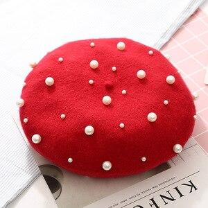 2020 nova mulher imitação de pérola francês pares boina chapéu tuque pour femme inverno preto vermelho amarelo rosa lã boinas bonés para mulher