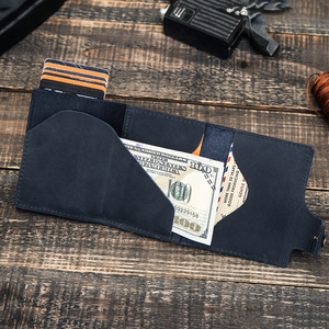 Image 4 - 연락처 빈티지 신용 카드 홀더 차단 미친 말 가죽 카드 지갑 남여 보안 정보 알루미늄 지갑 RFID