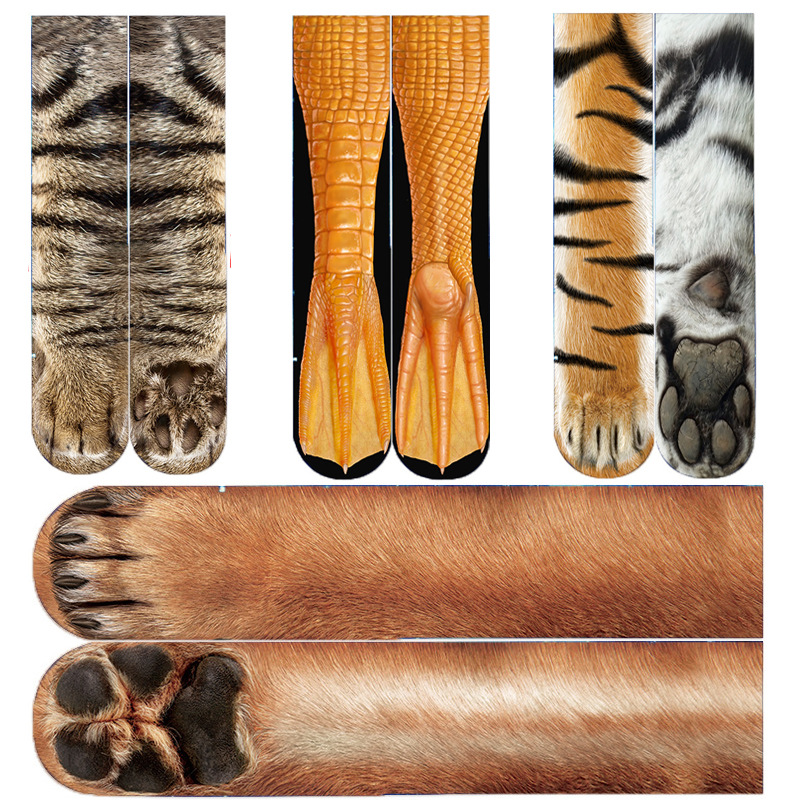 Funny Animal Print Socks Autumn Winter Unisex Long Crew Sock Comfortable Fashion Men Women Cartoon 3D Owl Tiger Print Long Socks