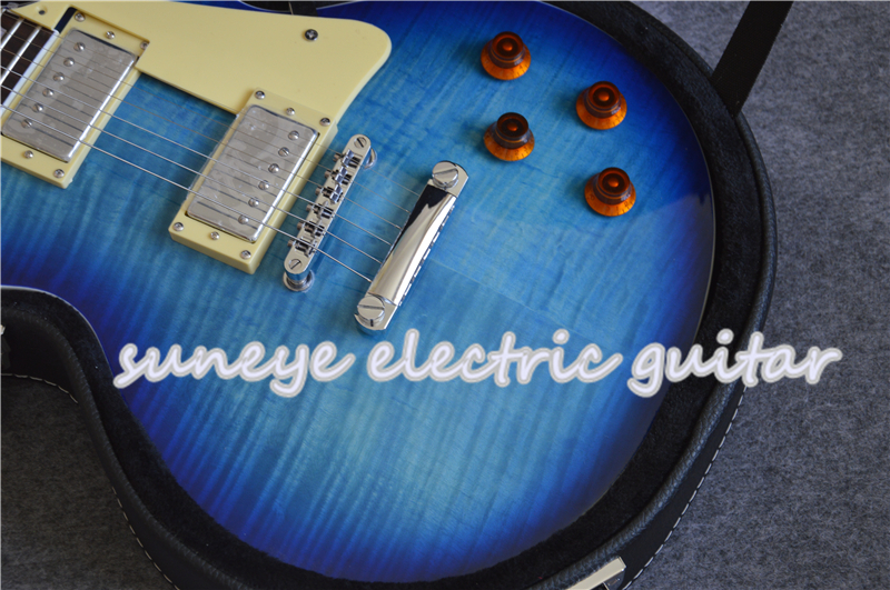 Suneye Rosewood Fretboard Electric Guitar With Tiger Flame Finish Floyd Rose Tremolo Guitar Custom Available With Case in Guitar from Sports Entertainment