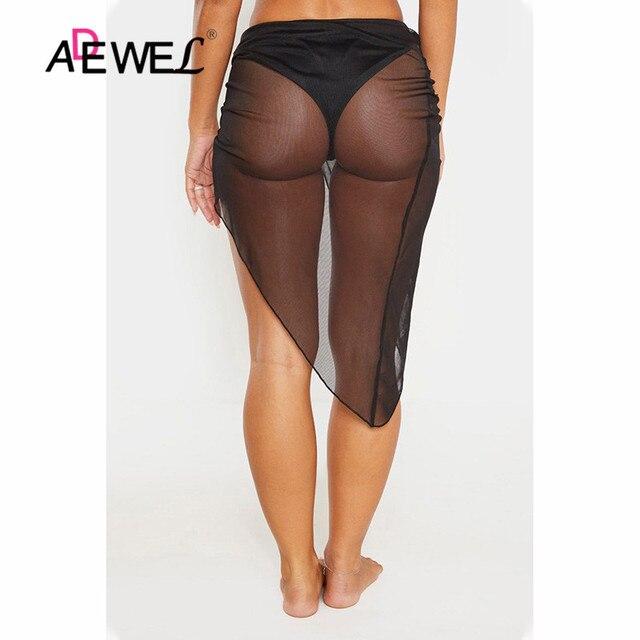 ADEWEL Black Twist Ruched Beach Skirt Women Bikinis Swimsuit Bathing Suit Cover-ups Sexy Beach Skirts Lightweight Beachwear 2