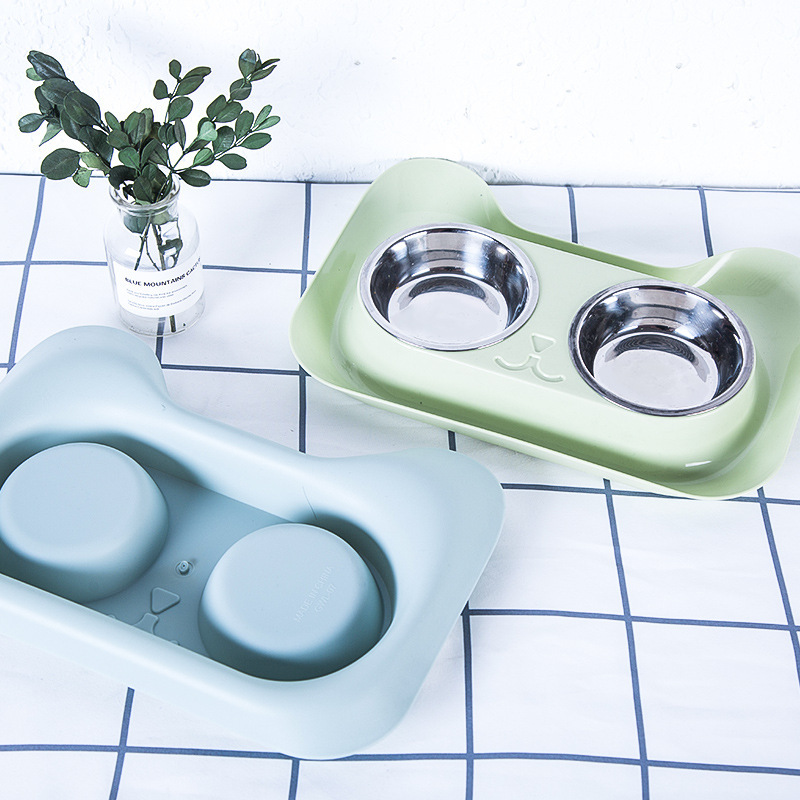 Double Cat Bowl Pet Food Water Feeder Cute Stainless Steel Puppy Drinking Dish Dog Bowl Feeder Non-skid Water Container for Dog