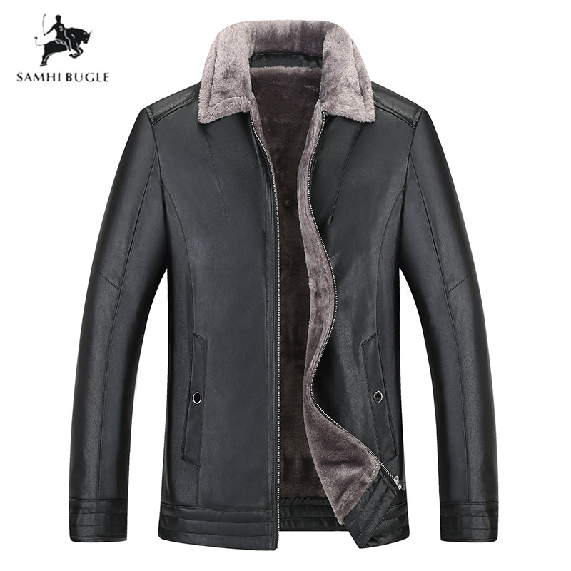 Plus Size 8XL Black Men Winter Warm Camouflage Lamb Woolen Casual Jacket Men Fur Collar Plush Faux Leather Jacket Coat European Style